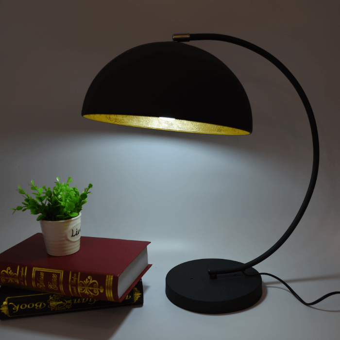 dome shade arc table lamp
