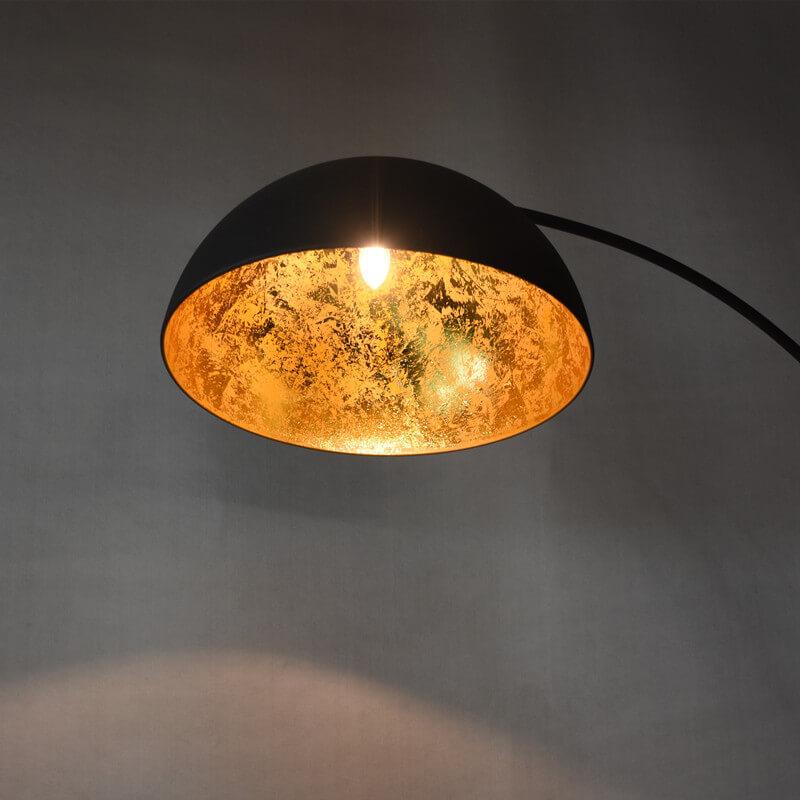 matt black golden sun vintage arc floor lamp