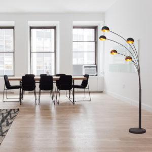 gold arc floor lamp vintage Unique Spider 5-Light Arc Floor Lamp W/Marble Base -Black Golden Sun