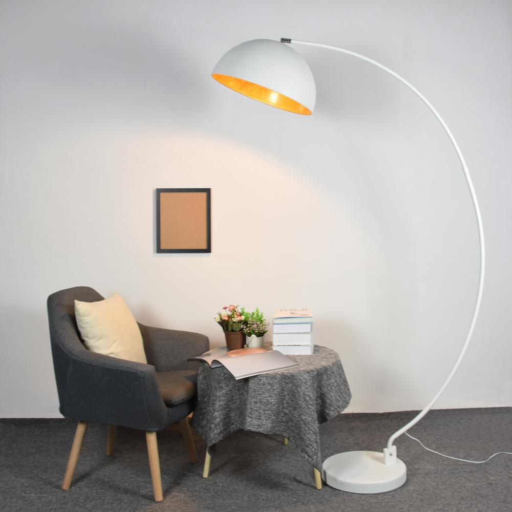 Retro gold white arc floor lamp