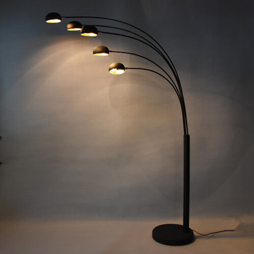 floor lamp arched 5 arm spider standing light