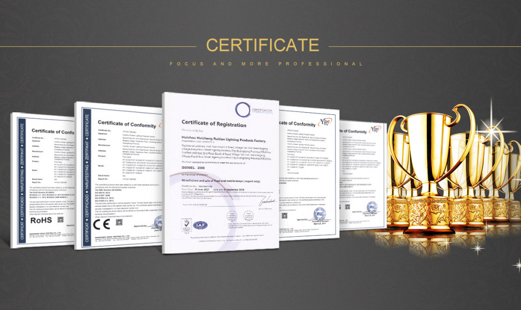 RT LIGHTING CE ROHS certifications