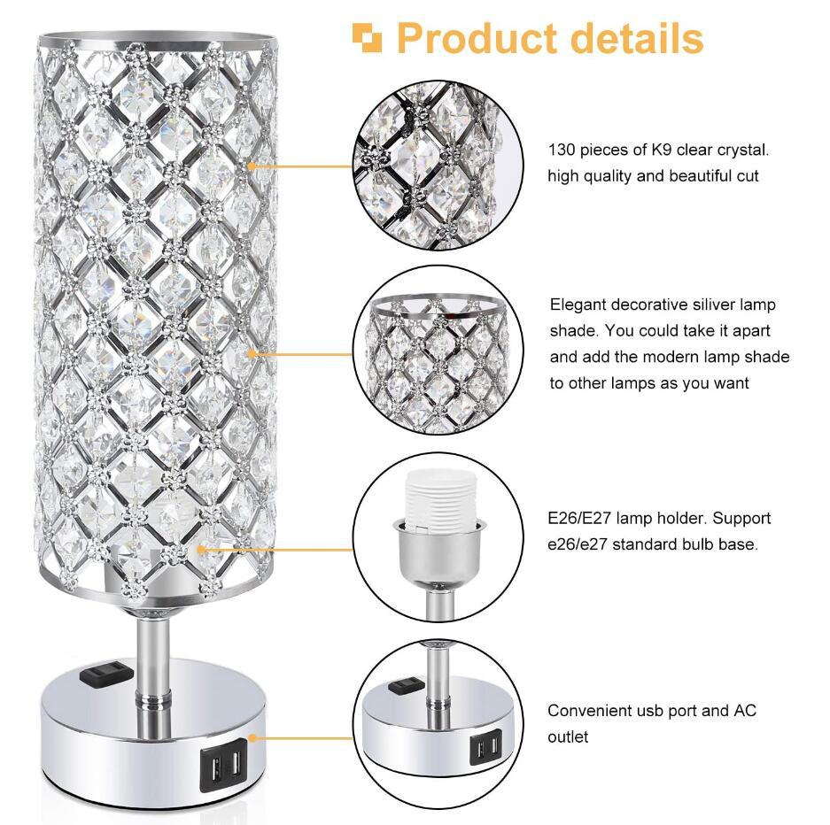 2 usb table lamp crystal lamp for bedroom
