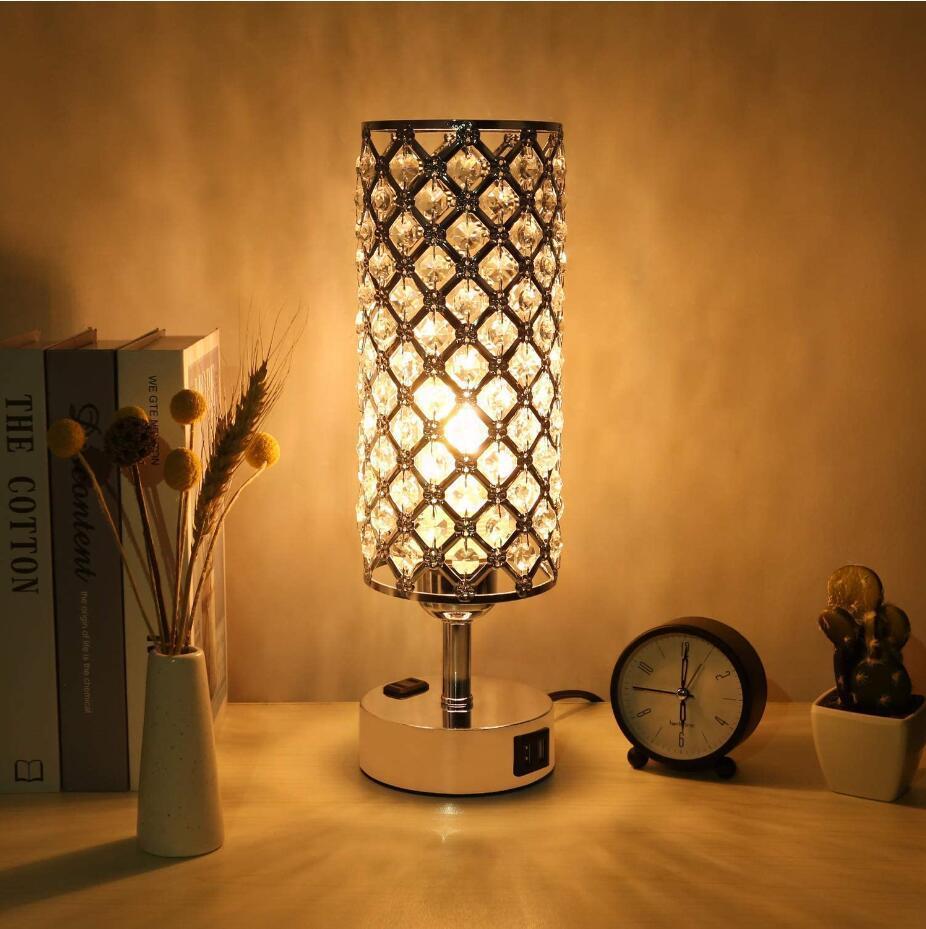 2 usb table lamp crystal lamp