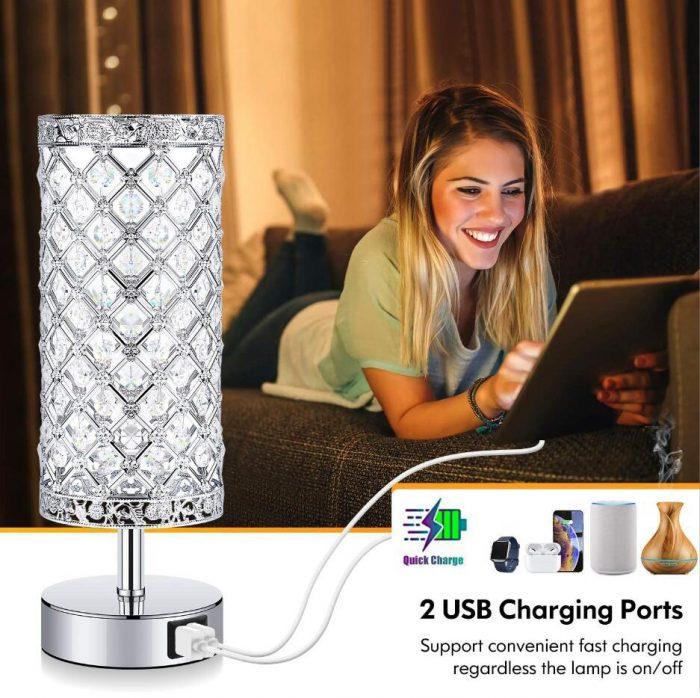 Crystal USB table lamp