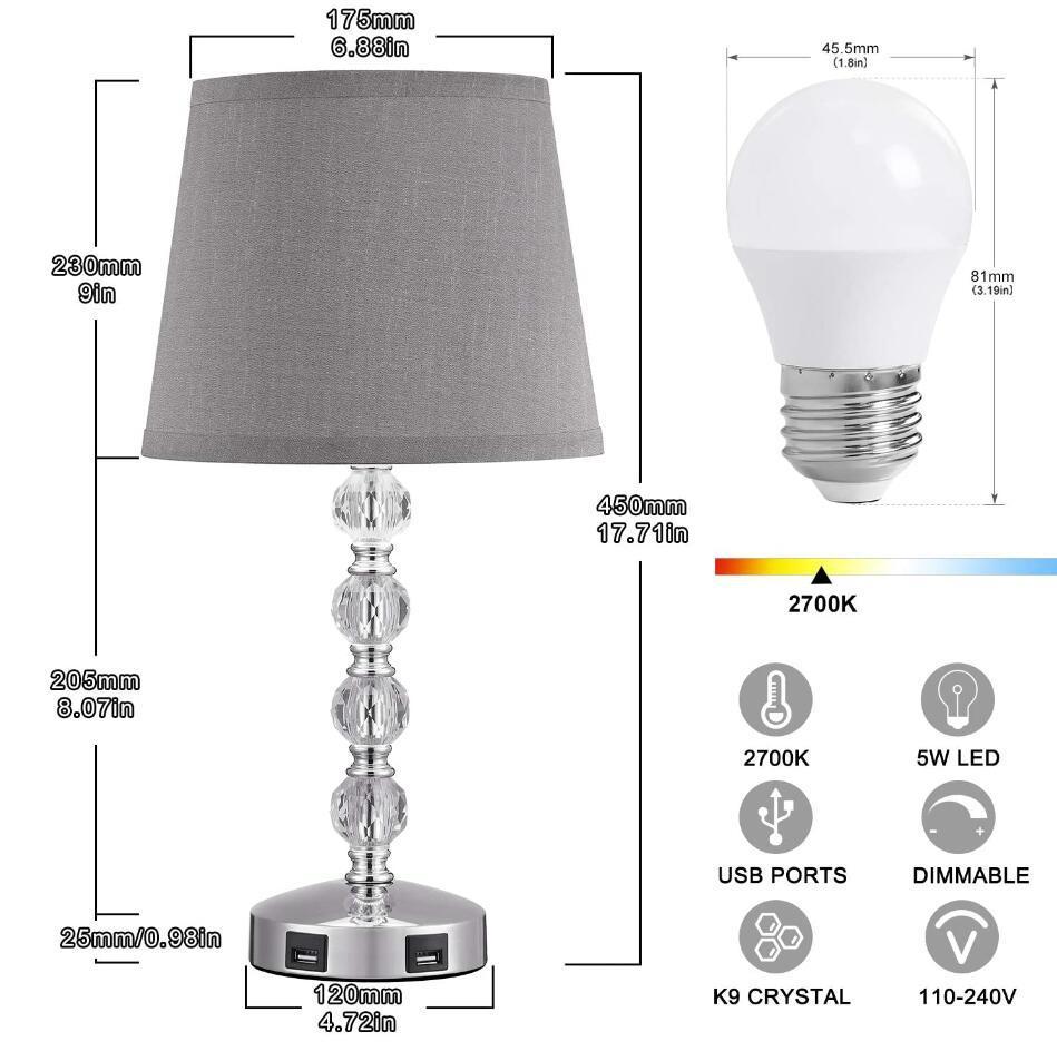 K9 crystal usb table lamp