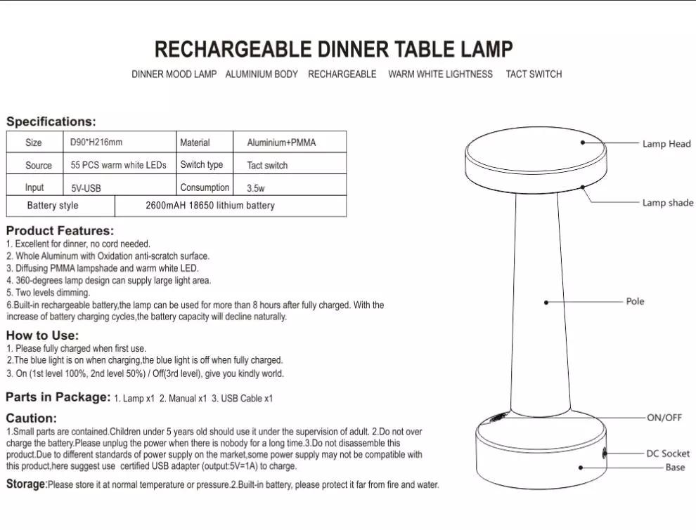 cordless lamps instruction manual