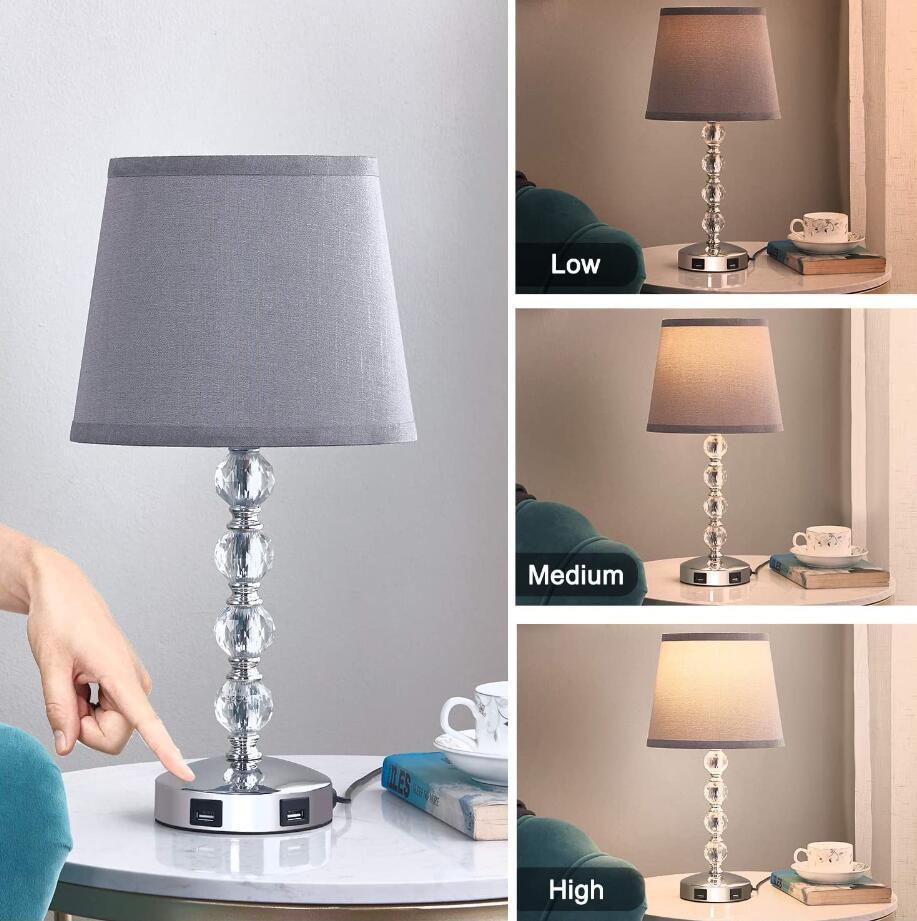 crystal usb table lamp dimmer light