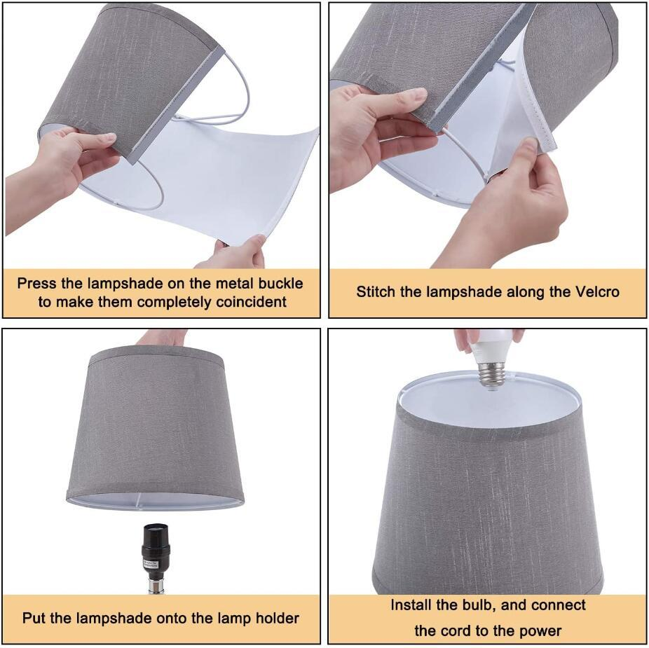 crystal usb table lamp with fabric lampshade