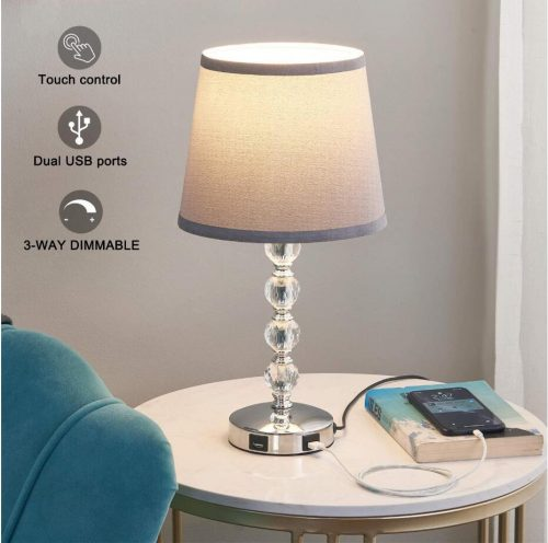dimmable crystal usb table lamp
