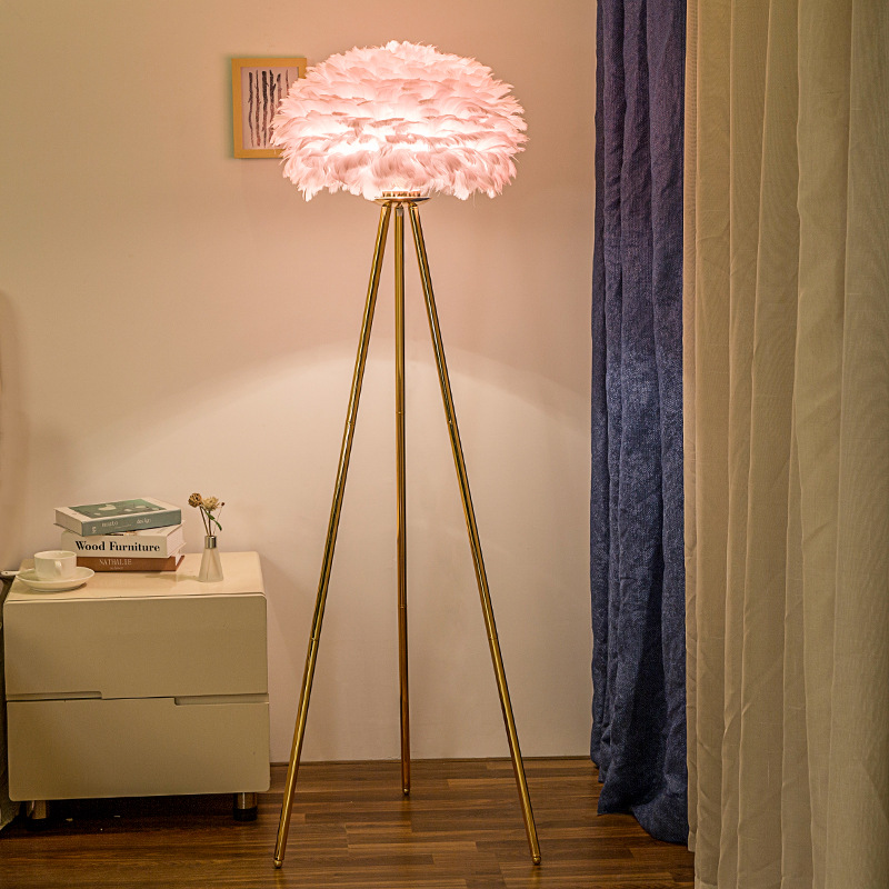 feather lamp floor trpiod light gold