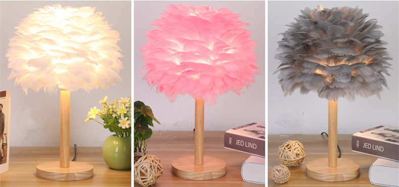 feather lamp shade light white pink grey wood table lamp