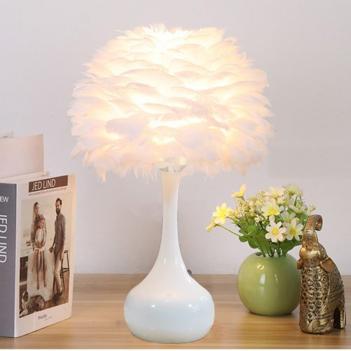 feather lamp shade metal table lamp