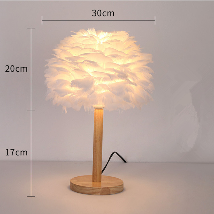 feather lamp shade pink desk wood table lamp
