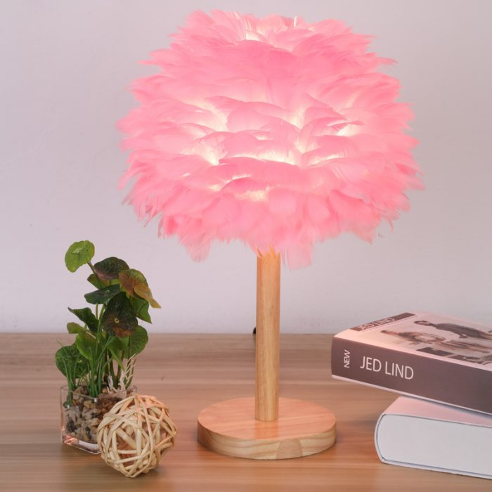 feather lamp shade pink wood table lamp