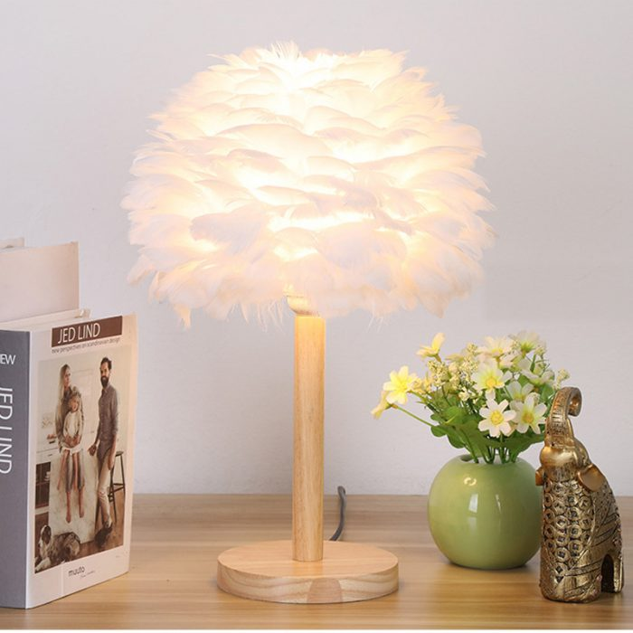feather lamp shade white wooden table lamp
