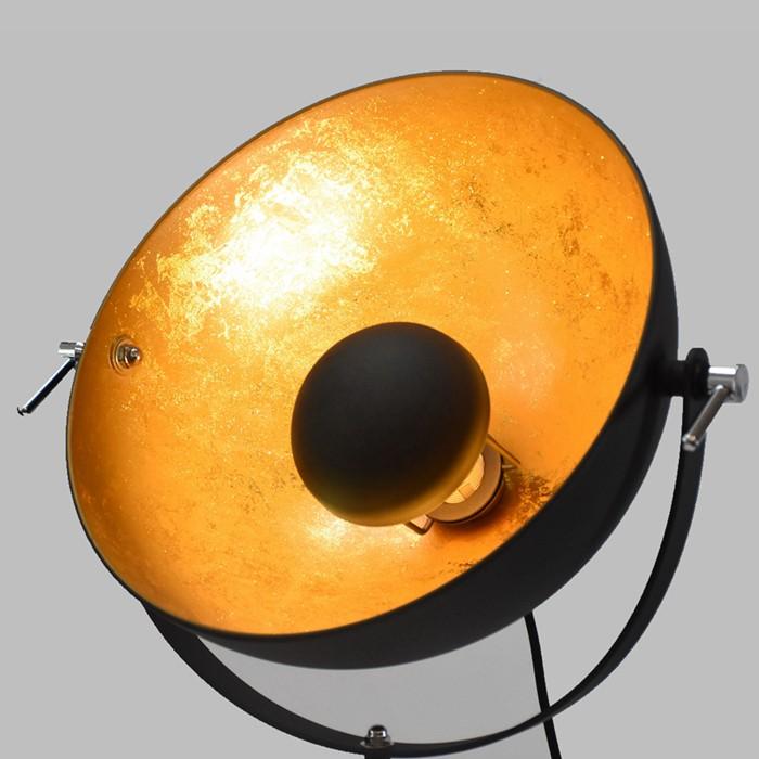 floor lamp tripod gold black reflector lampshade