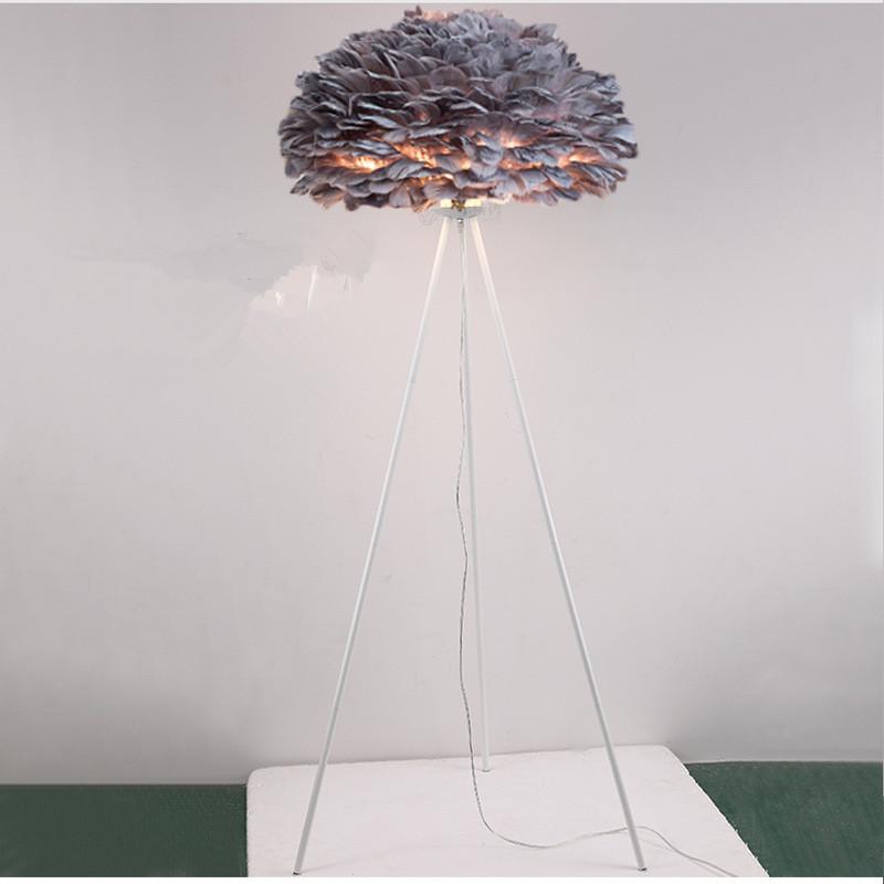 grey feather lamp shade white tripod base floor lamp