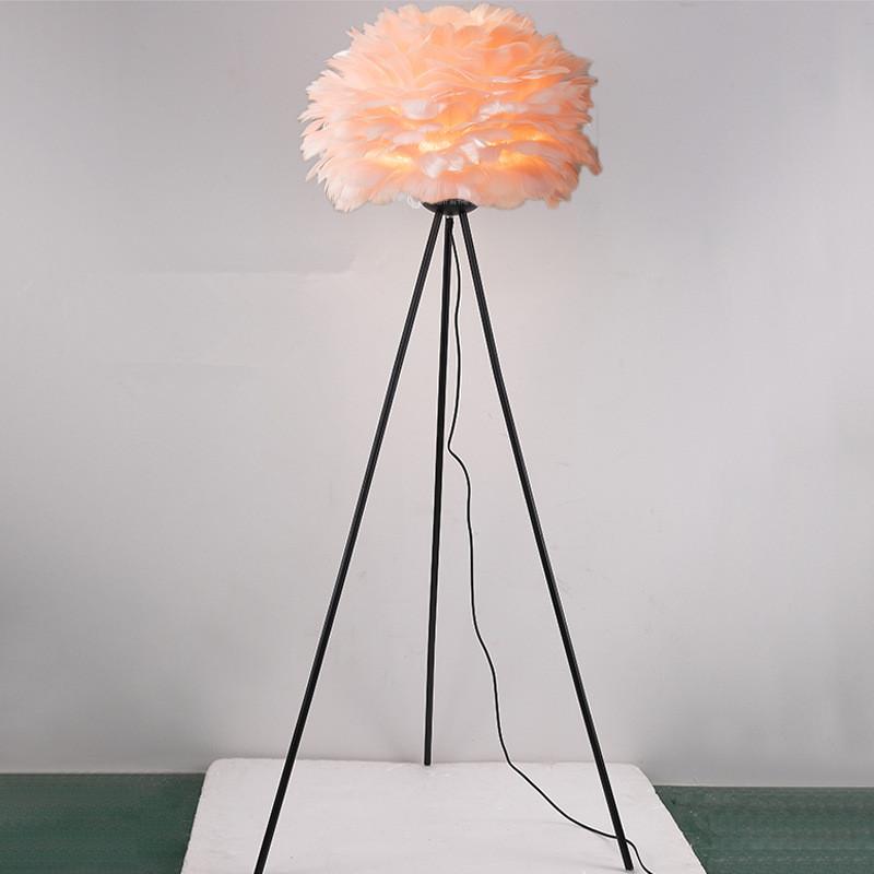 pink feather lamp shade black tripod base floor lamp
