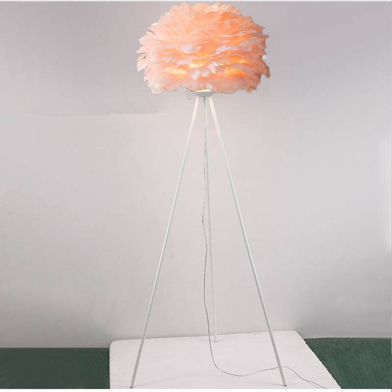 pink feather lamp shade white tripod base floor lamp