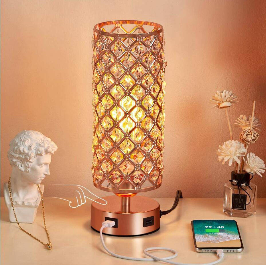 rose gold Dimmable table lamp with USB ports
