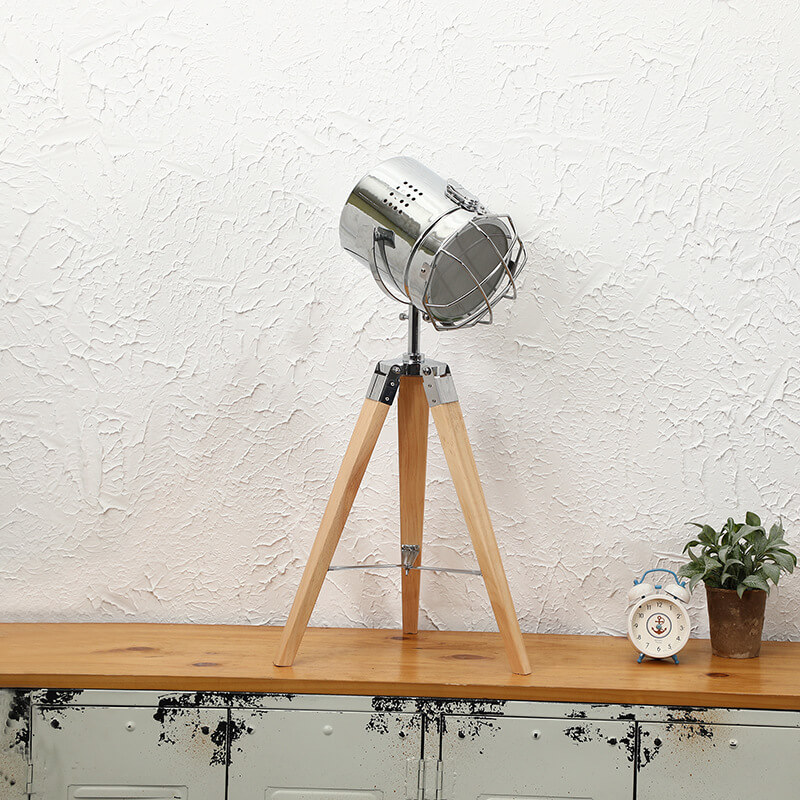 table lamp industrial natural wood
