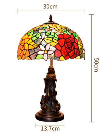 tiffany lamp with angel girl 12""