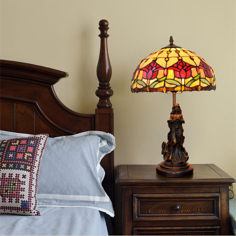 tiffany lamp with angel girl bedroom table lamp