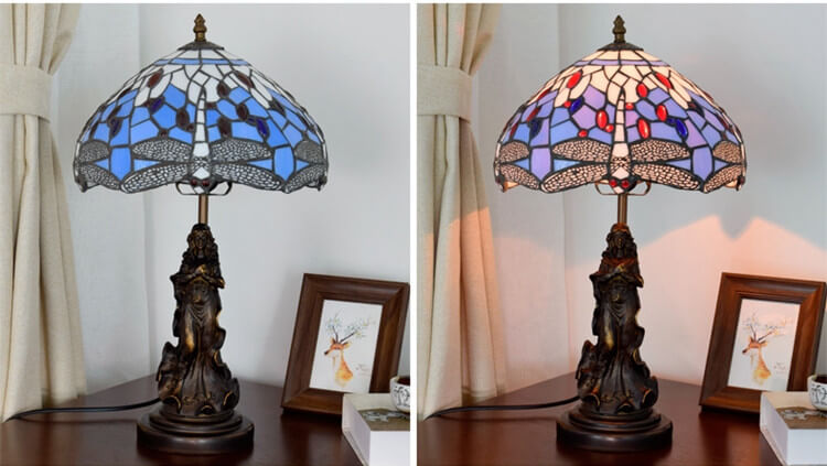 tiffany lamp with angel girl desk light