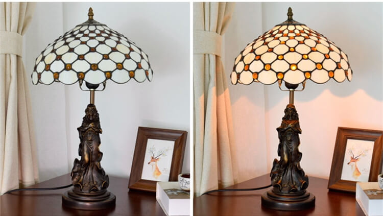 tiffany lamp with angel girl desk table lamp