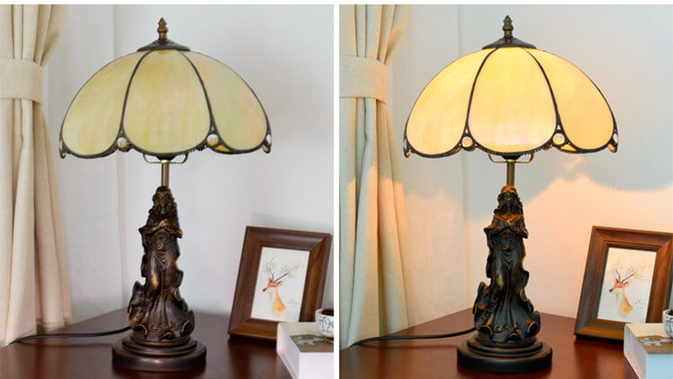 tiffany lamp with angel girl home light