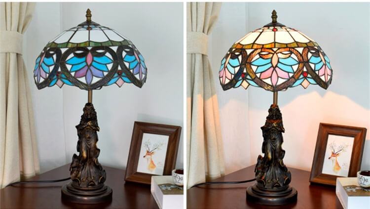 tiffany lamp with angel girl hotel room lamp