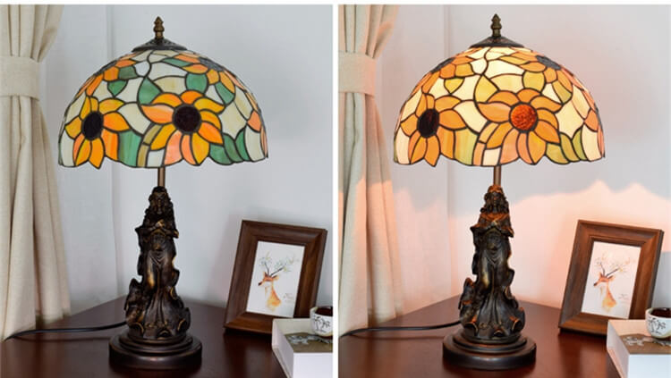 tiffany lamp with angel girl hotel room light