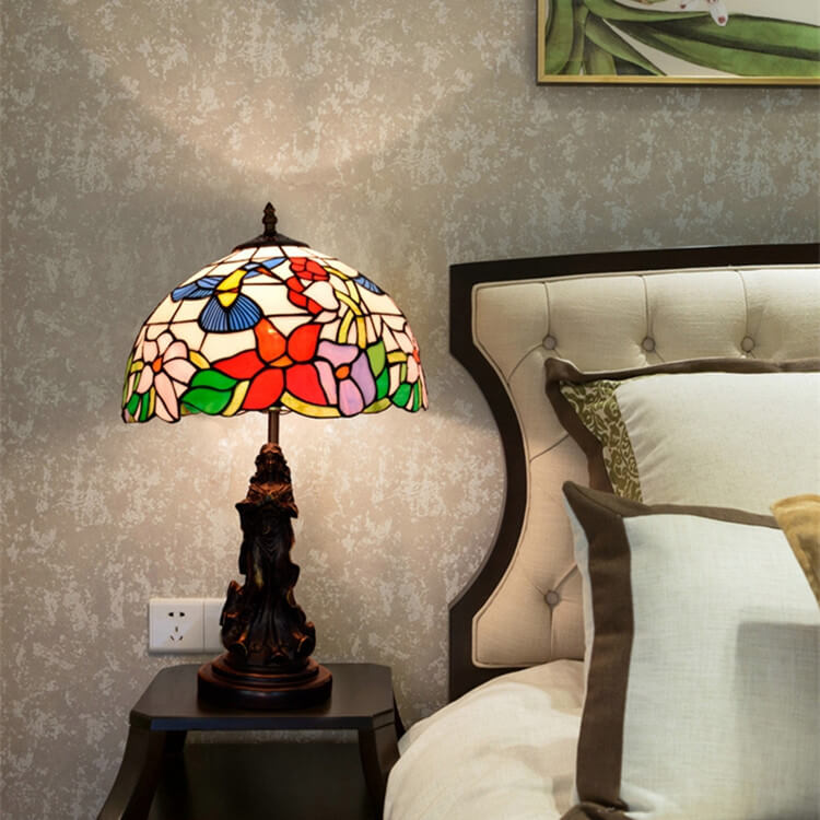 tiffany lamp with angel girl hotel room table lamp