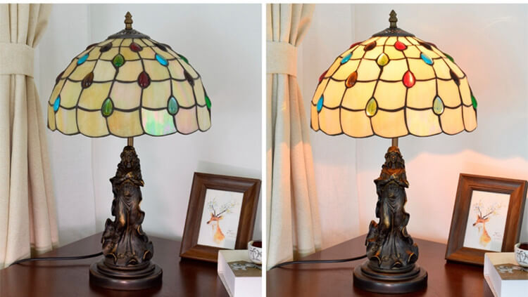 tiffany lamp with angel girl room light