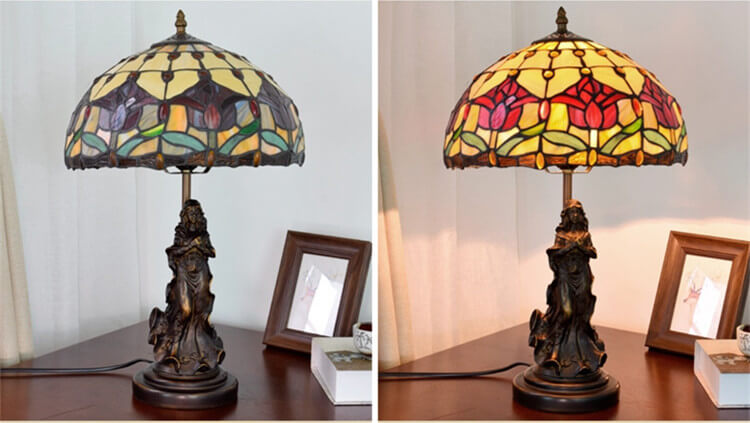 tiffany lamp with angel girl stained glass table lamp