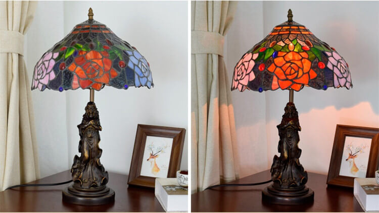 tiffany lamp with angel girl table desk lamp