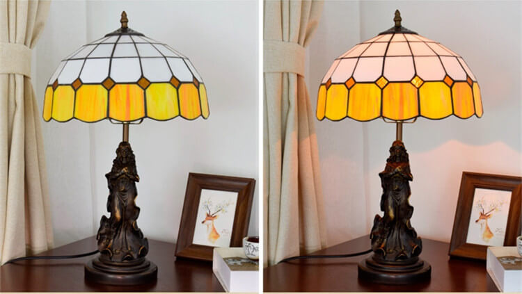 tiffany lamp with angel girl table desk light