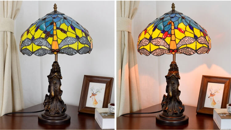tiffany lamp with angel girl table lamp
