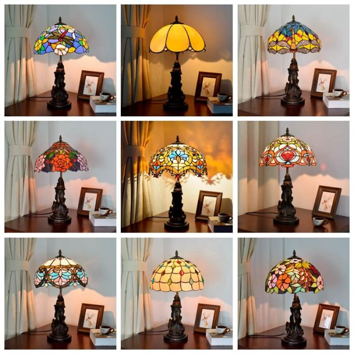 tiffany lamp with angel girl vintage desk light