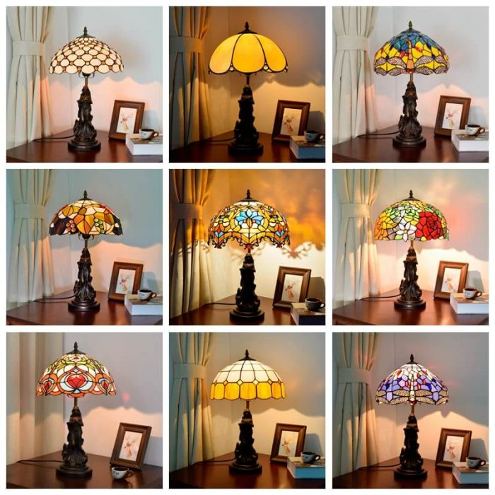 tiffany lamp with angel girl vintage table desk lamp