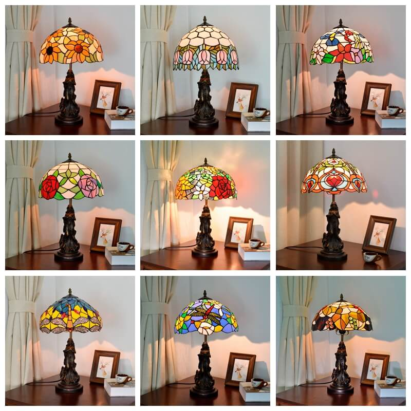 tiffany lamp with angel girl vintage table lamp light