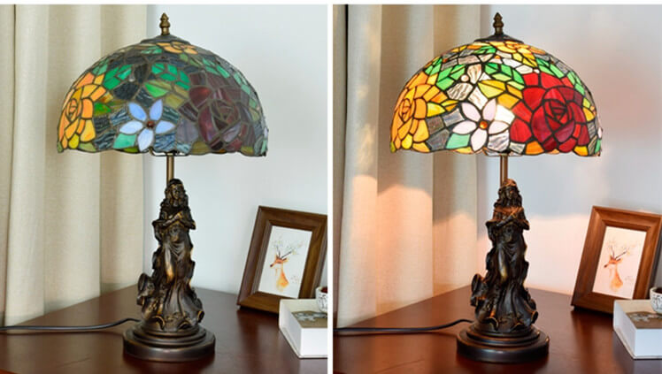 tiffany lamp with angel girl vintage table lamp
