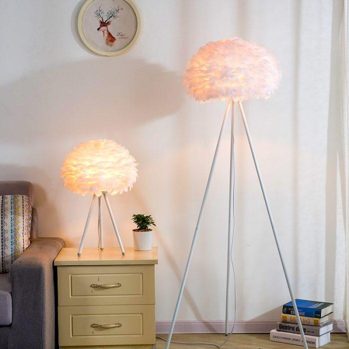 tripod floor goose feather lamp