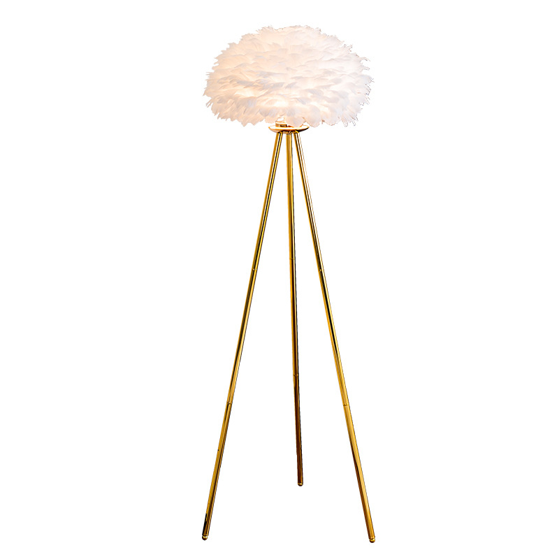 white feather lamp shade floor lamp trpiod gold base