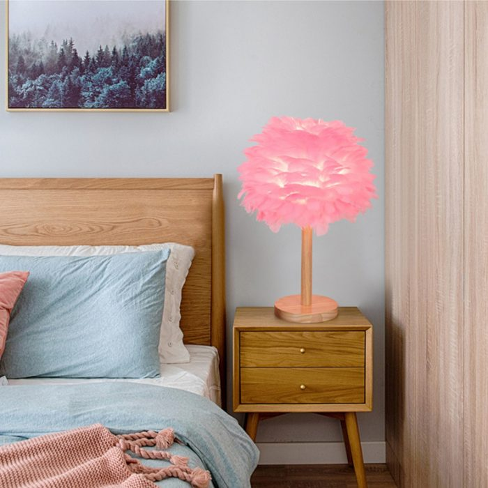 wood base desk pink feather lamp