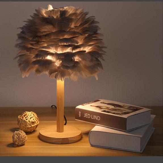 wood base feather lamp