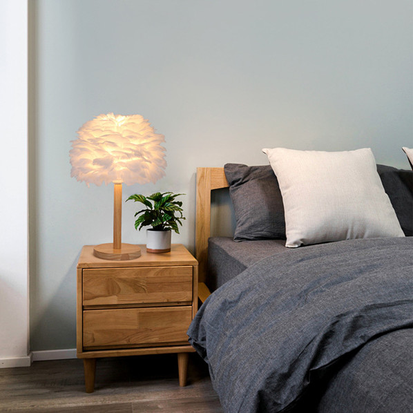 wooden base white feather lamp